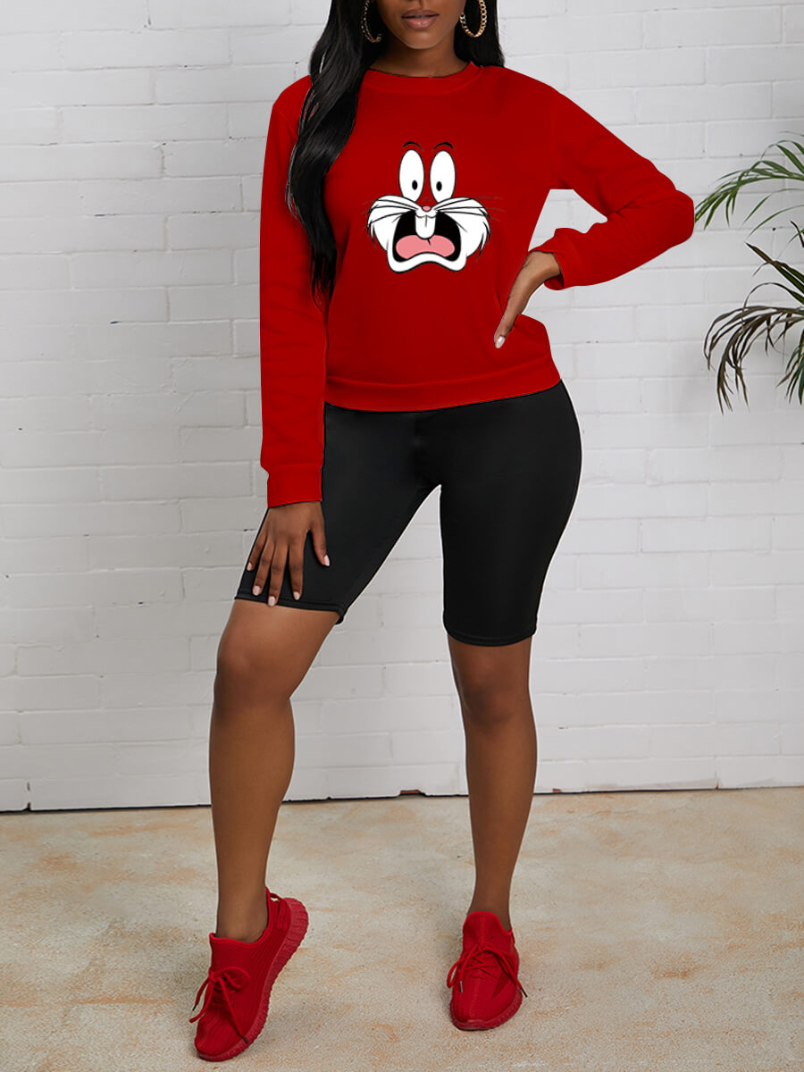 Lovely Casual O Neck Cartoon Rabbit Print Red Hood