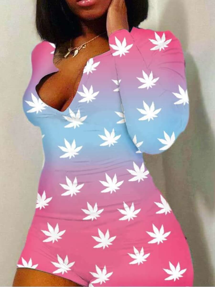 Lovely Sweet Floral Tie-dye Gradient One-piece Rom