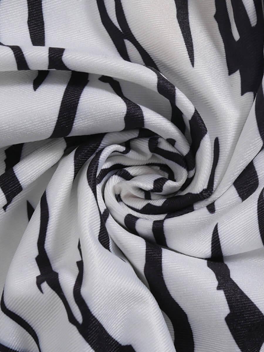 Lovely Stylish Striped Print Skinny White Sleepwea