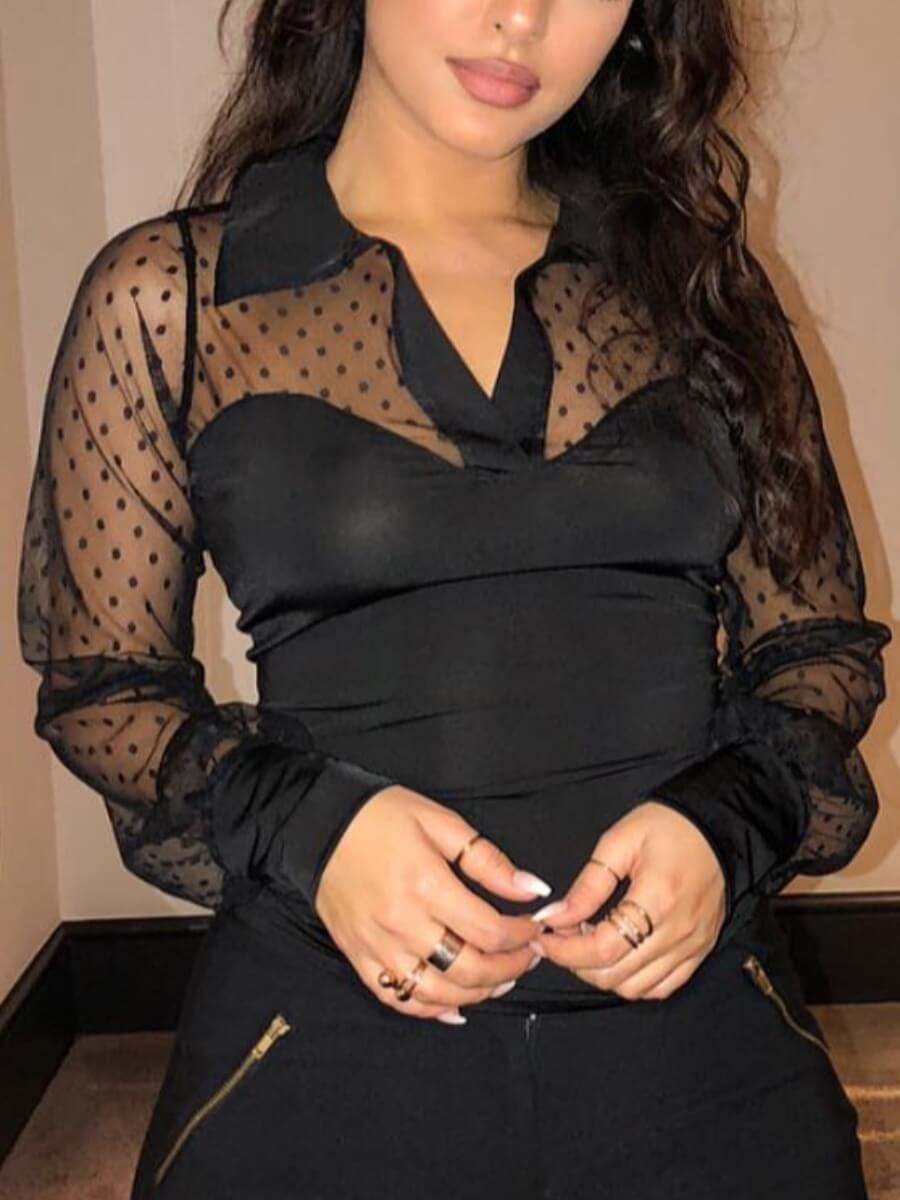 Lovely Sweet Turndown Collar Mesh Patchwork Black