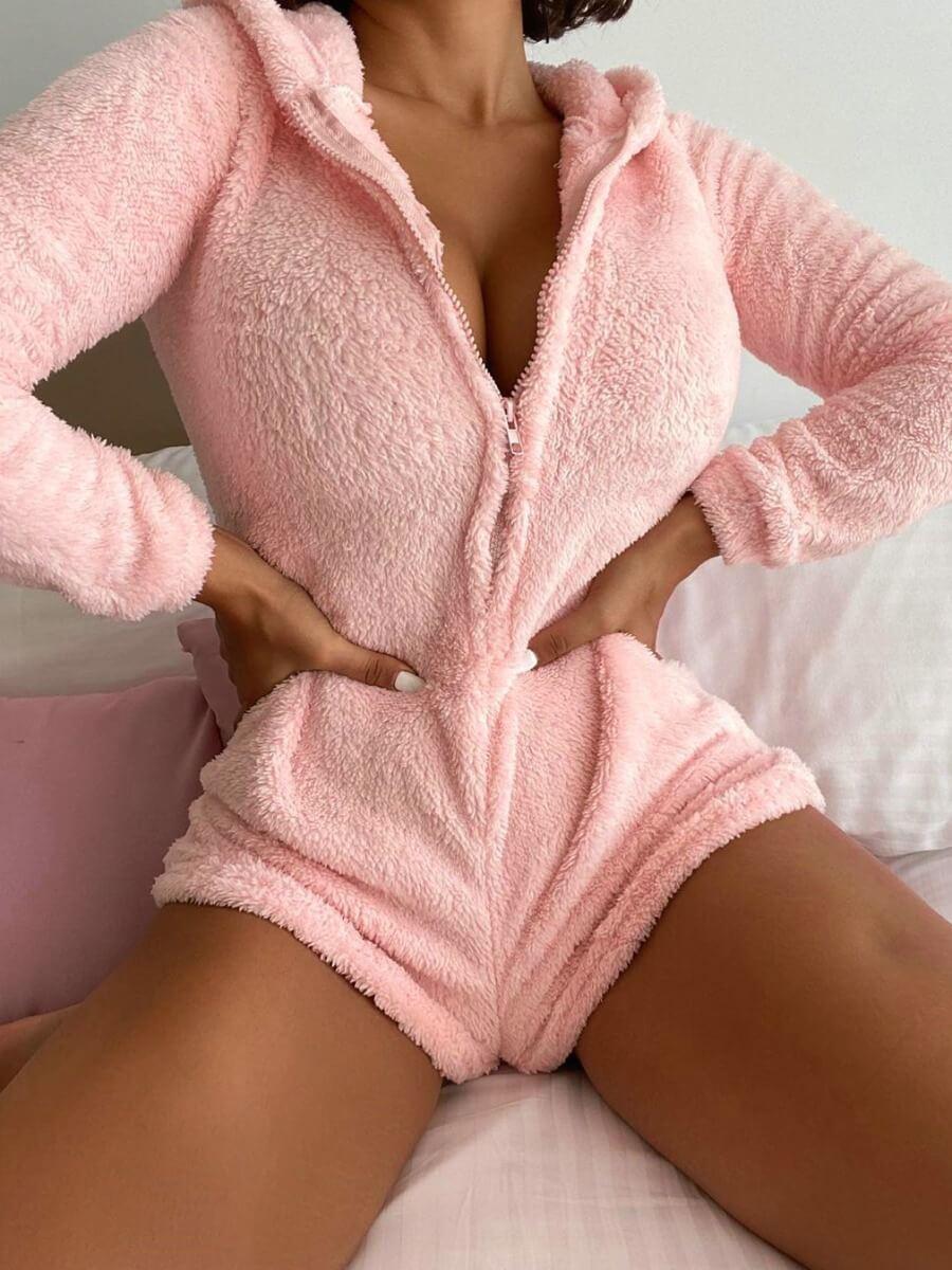 Lovely Sexy Hooded Collar Zipper Design Pink Sleep