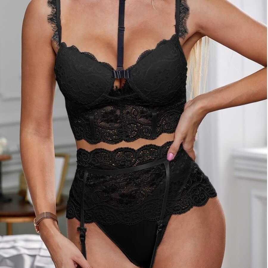 Lovely Sexy Lace Patchwork Black Bra Sets