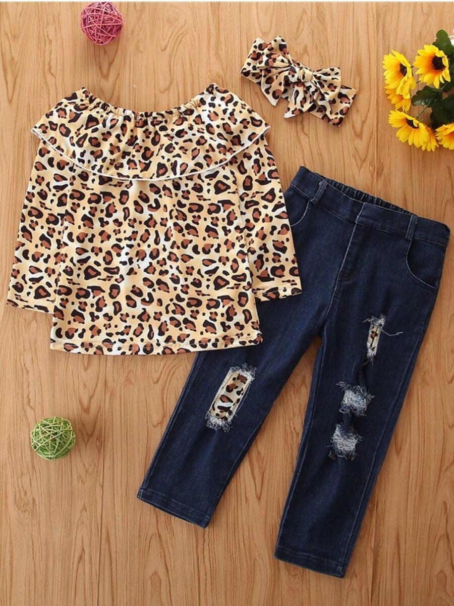 Lovely Stylish O Neck Leopard Print Broken Holes G