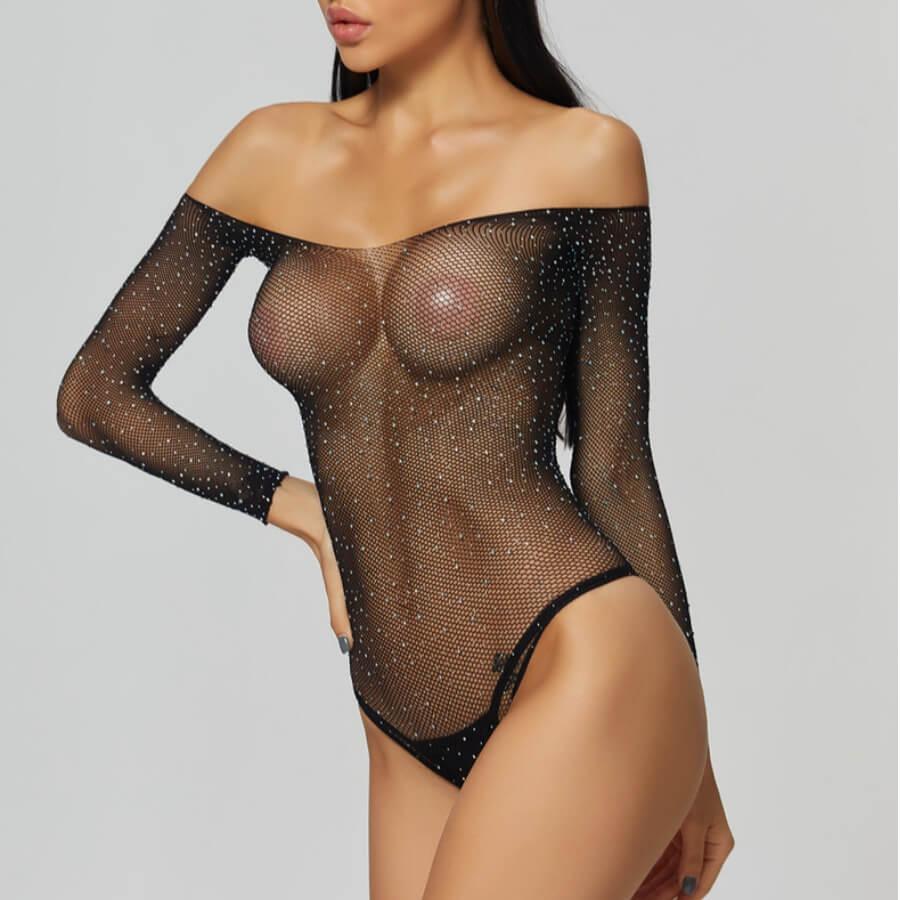 Lovely Sexy Dew Shoulder See-through Black Teddies