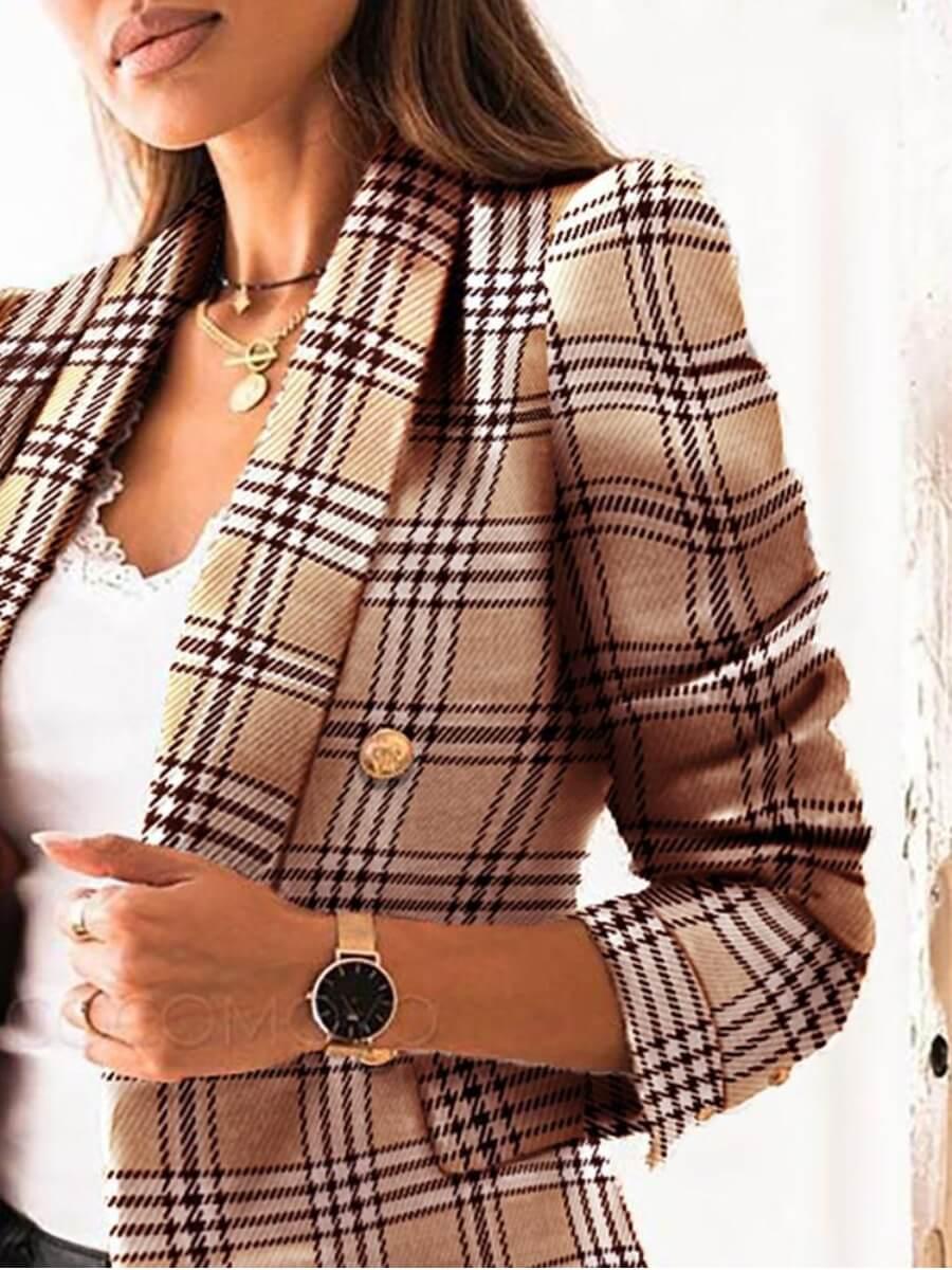 Lovely Casual Plaid Print Button Design Khaki Blaz