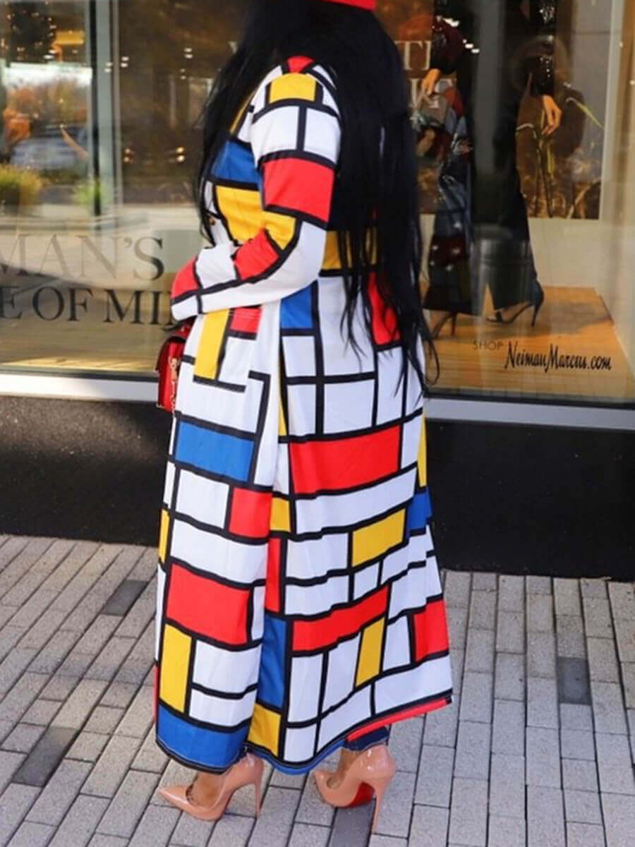 Lovely Street Plaid Print Patchwork Yellow Trench
