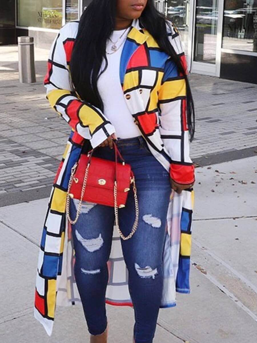Lovely Casual Plaid Print Patchwork Yellow Plus Si