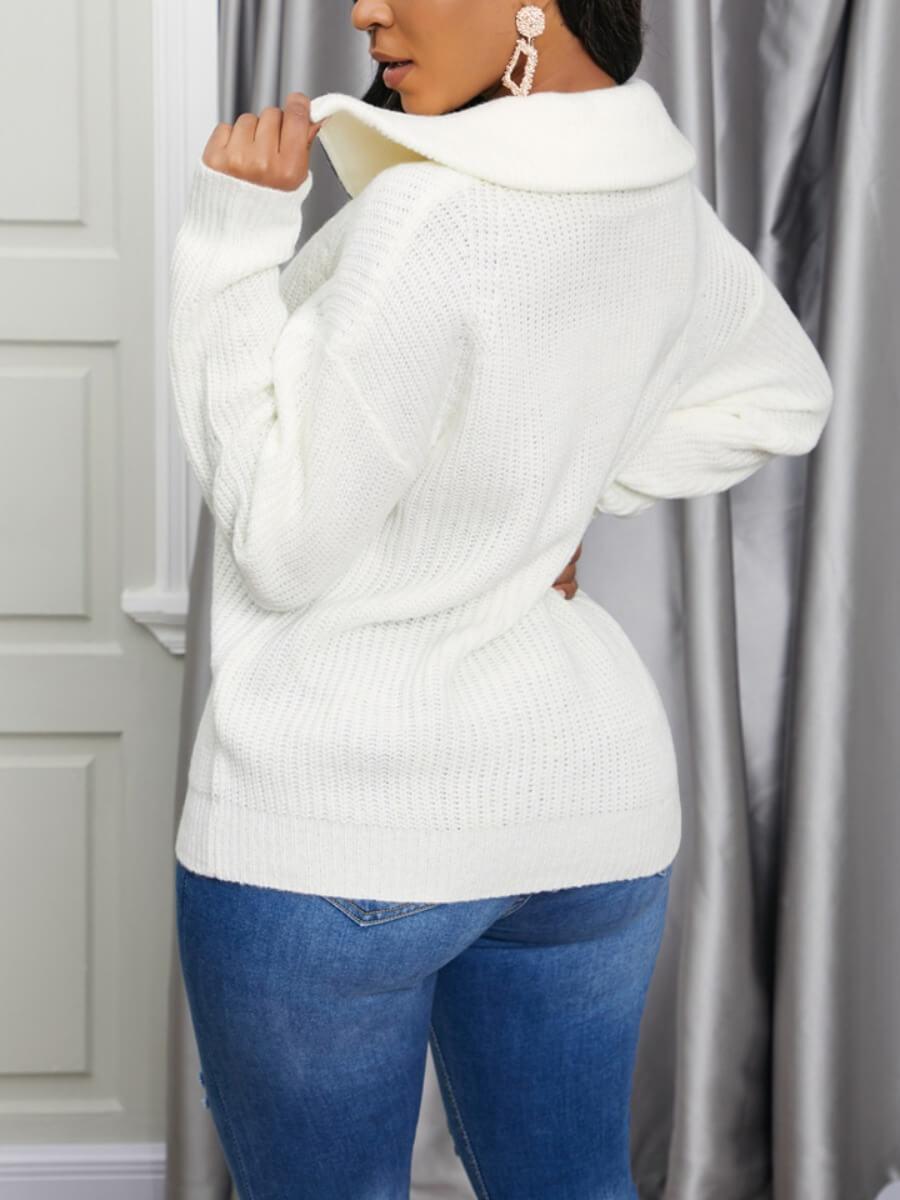 Lovely Zipper Design White Sweater