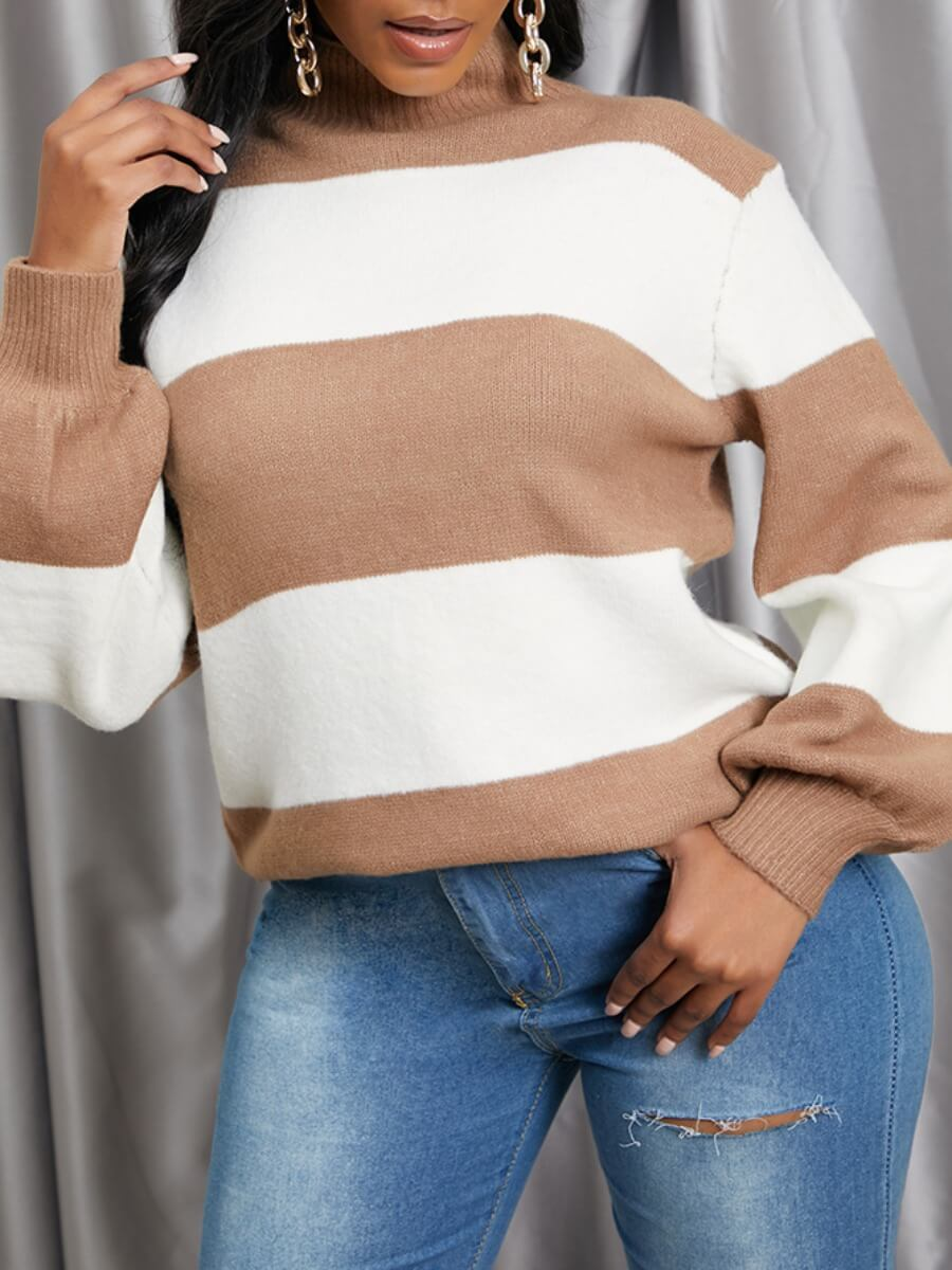 Lovely Color-Lump Patchwork Coffee Sweater