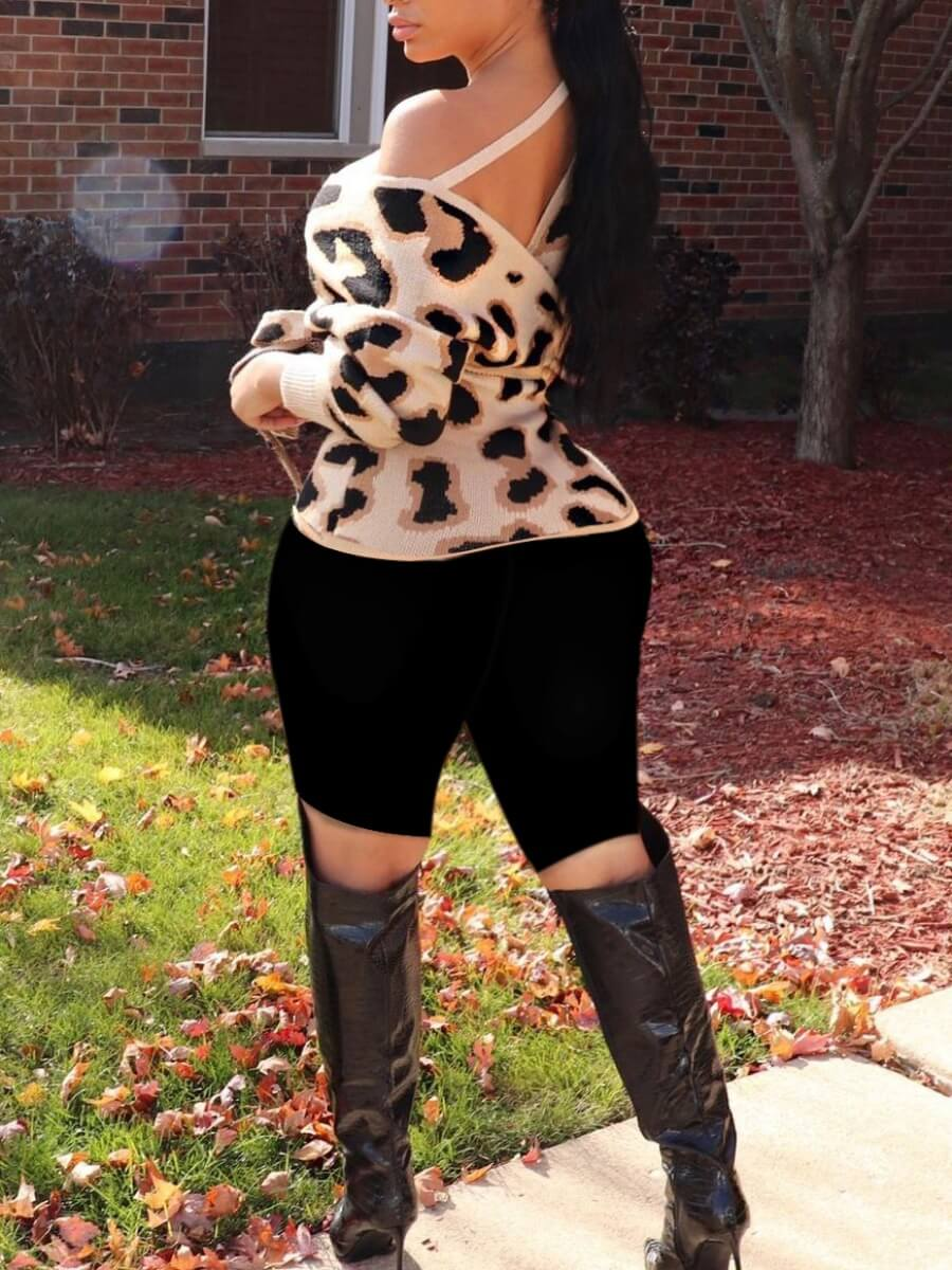 Lovely Street Lace-up Leopard Print Cross-over Design Sweater