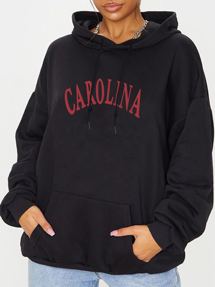 Lovely Casual Hooded Collar Letter Print Black Hoo