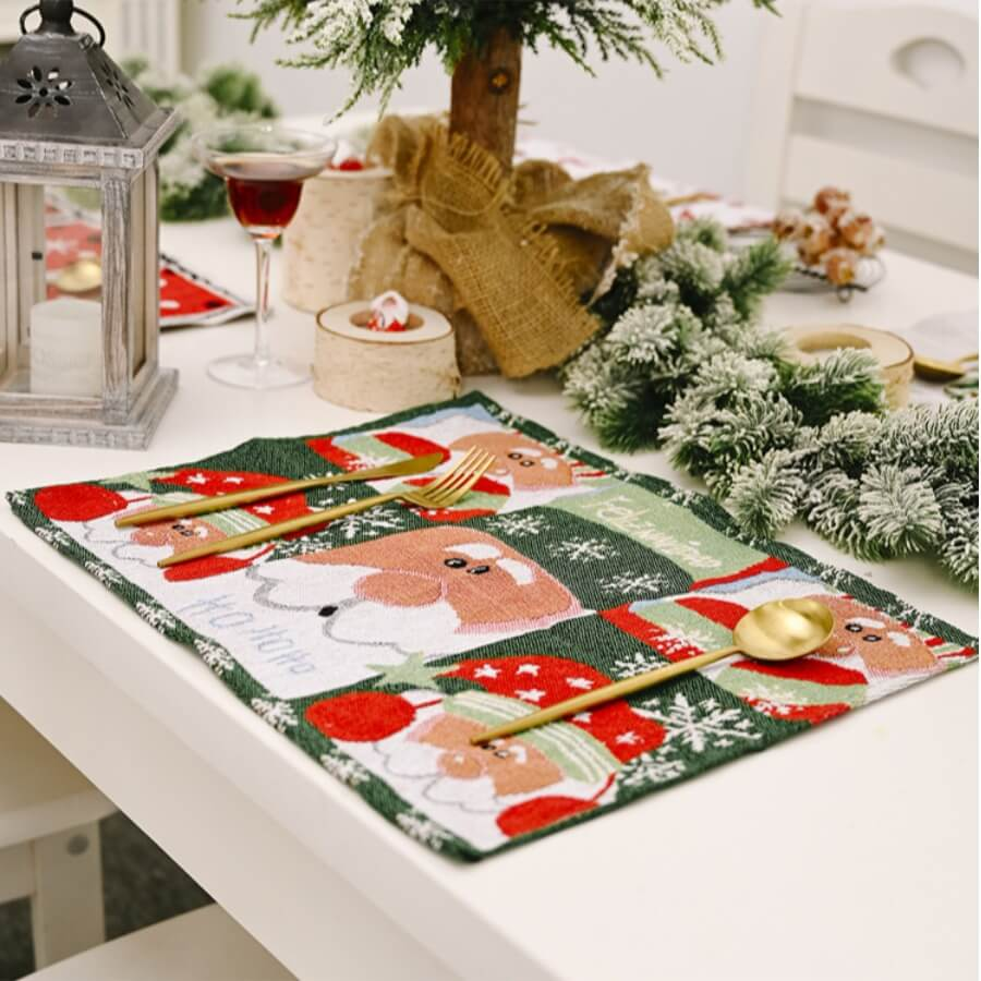 Lovely Christmas Day Print Patchwork Red Table Lin