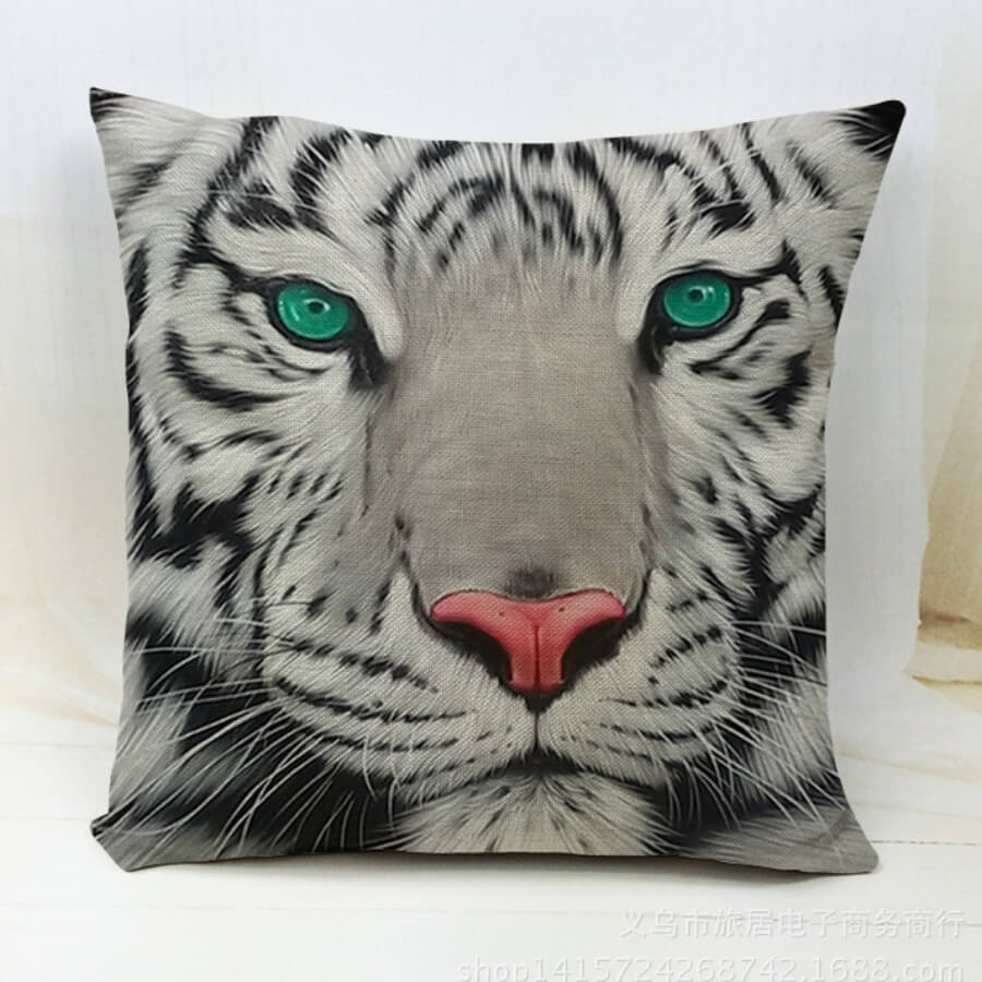 Lovely Animal Print Green Decorative Pillow Case
