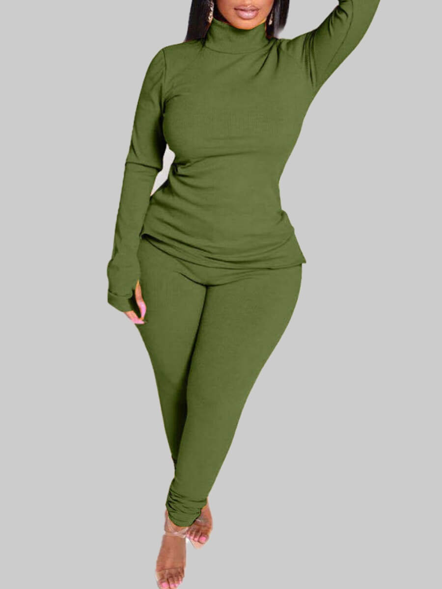 Lovely Casual O Neck Side Slit Green Plus Size Two