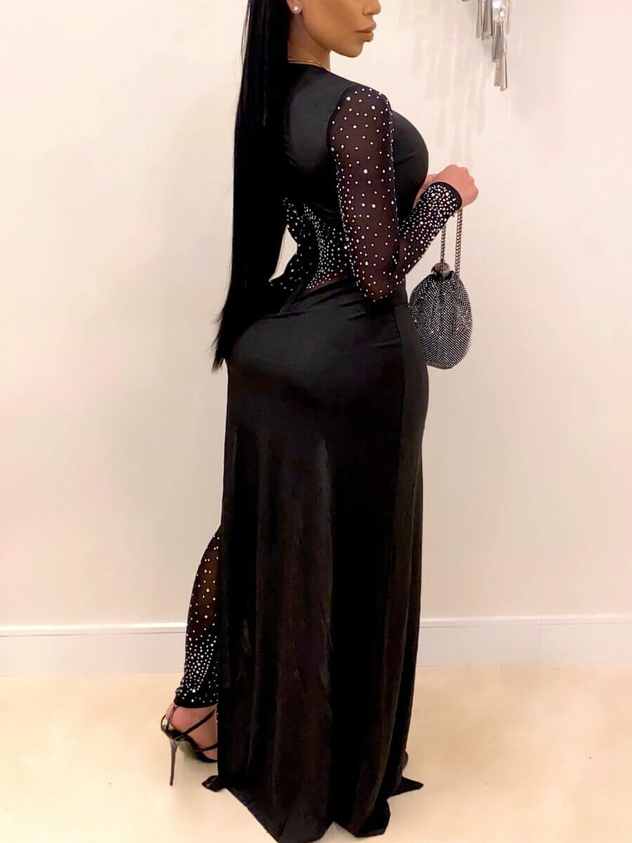 Lovely Party Mesh Patchwork Sequined Black One-piece Jumpsuit
