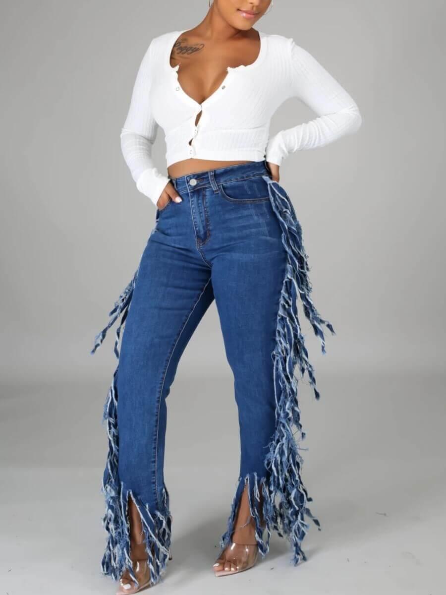 Lovely Casual High-waisted Tassel Design Blue Jean