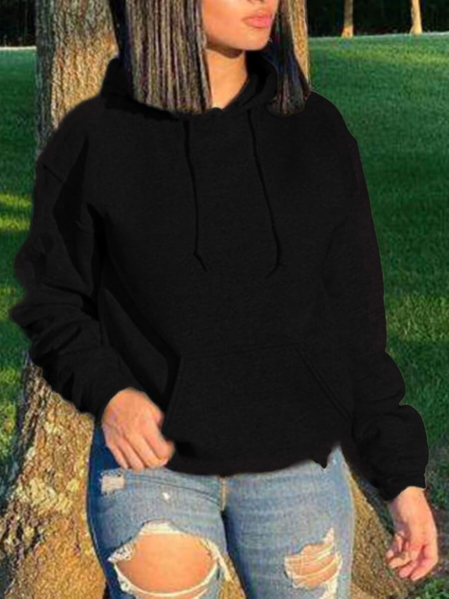 Lovely Casual Hooded Collar Pocket Patched Black H