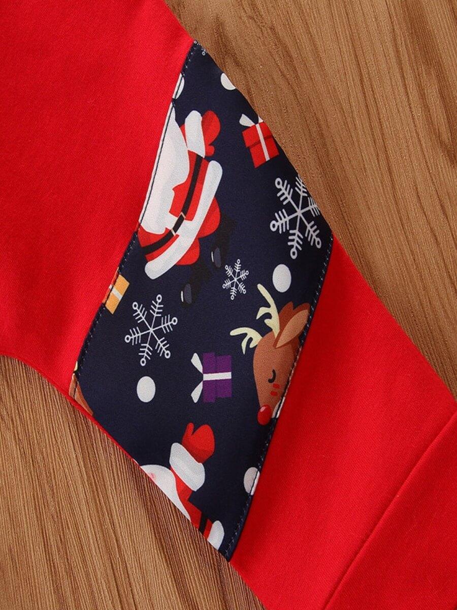 Lovely Trendy Santa Claus Print Patchwork Red Boy