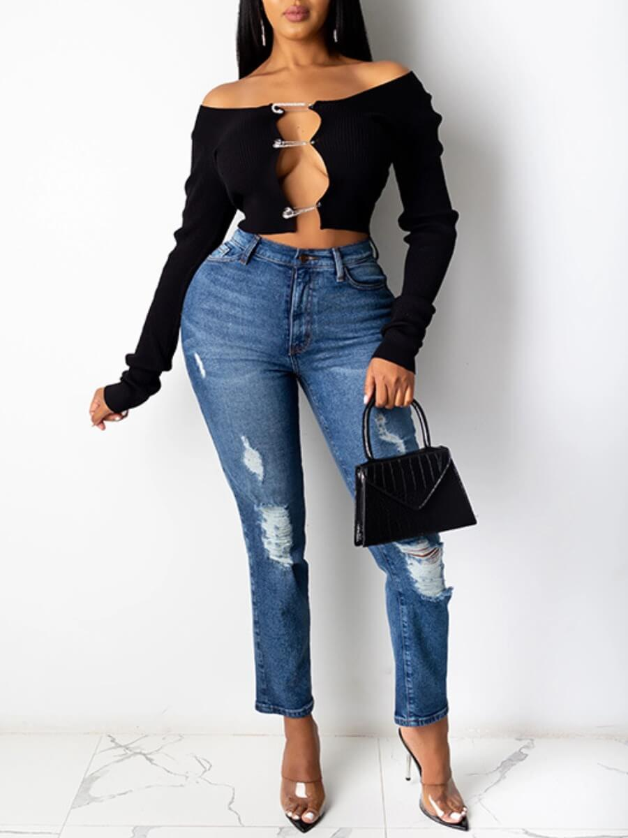 Lovely Sexy Off The Shoulder Hollow-out Black T-sh