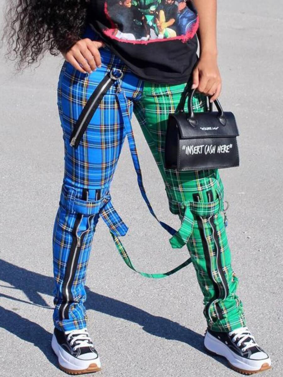 Lovely Casual Plaid Print Patchwork Blue Pants