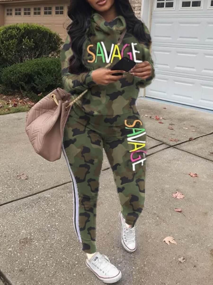 Lovely Sportswear Letter Print Striped Army Green