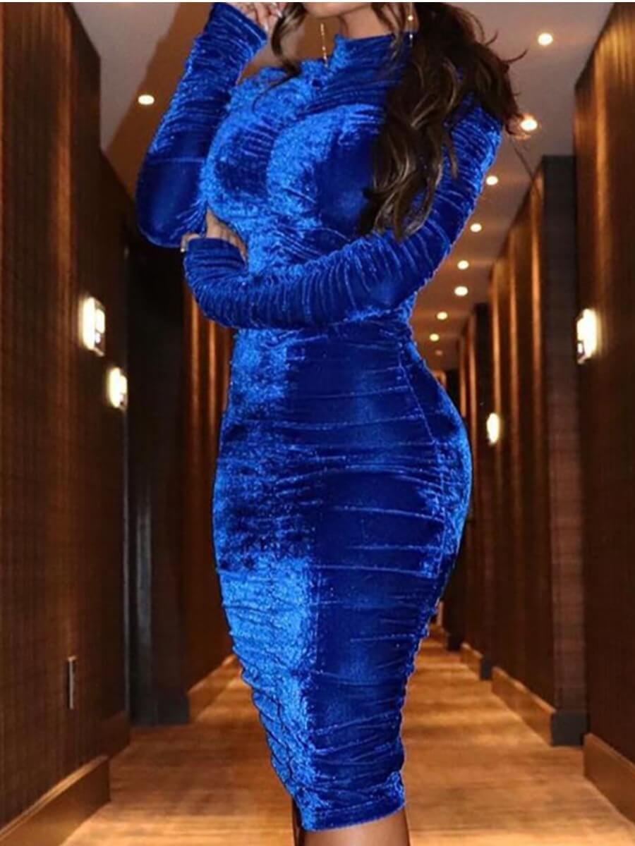 Lovely Party Half A Turtleneck Fold Design Blue Mid Calf Dress
