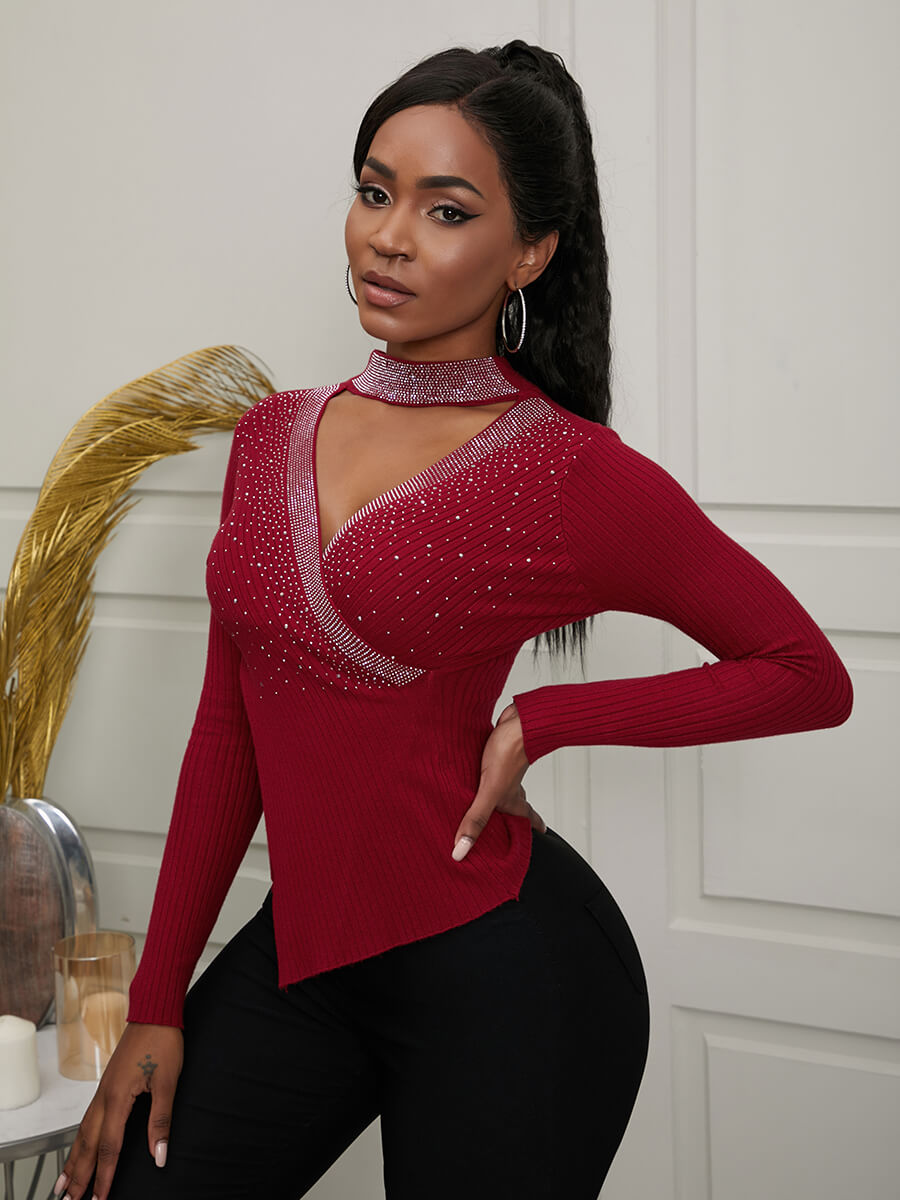 Lovely Sexy Sequined Hollow-out Wine Red Sweater