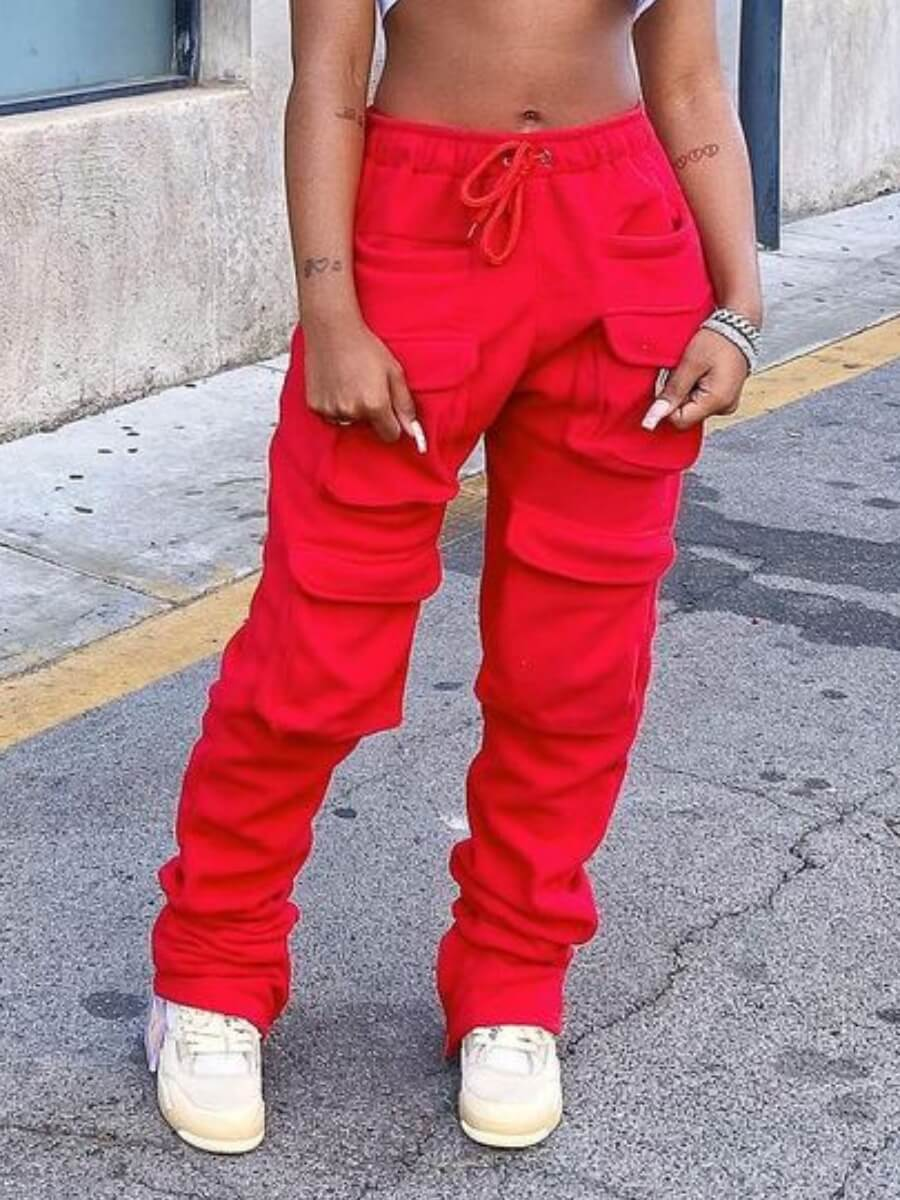 Lovely Casual Elastic Waist Pocket Design Red Pant