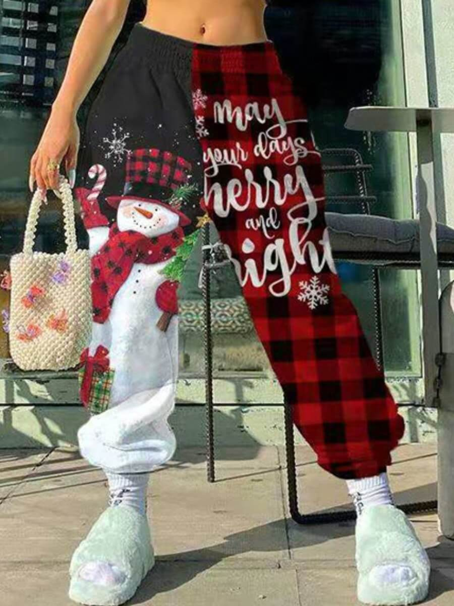 Lovely Trendy Santa Claus Plaid Letter Print Wine