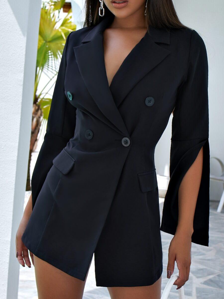 Lovely Formal Turndown Collar Sleeve Split Black B
