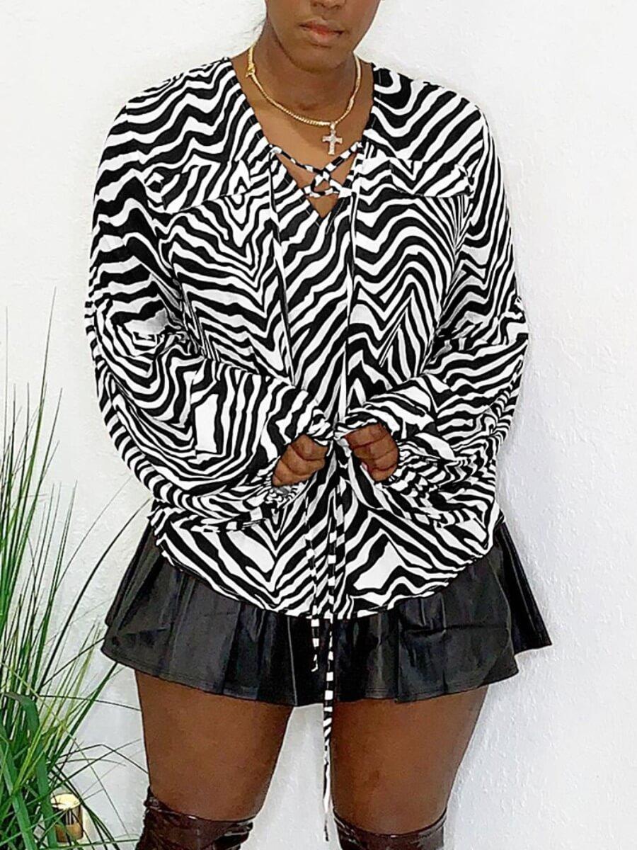 Lovely Casual Zebra Print Patchwork Loose Light Gr