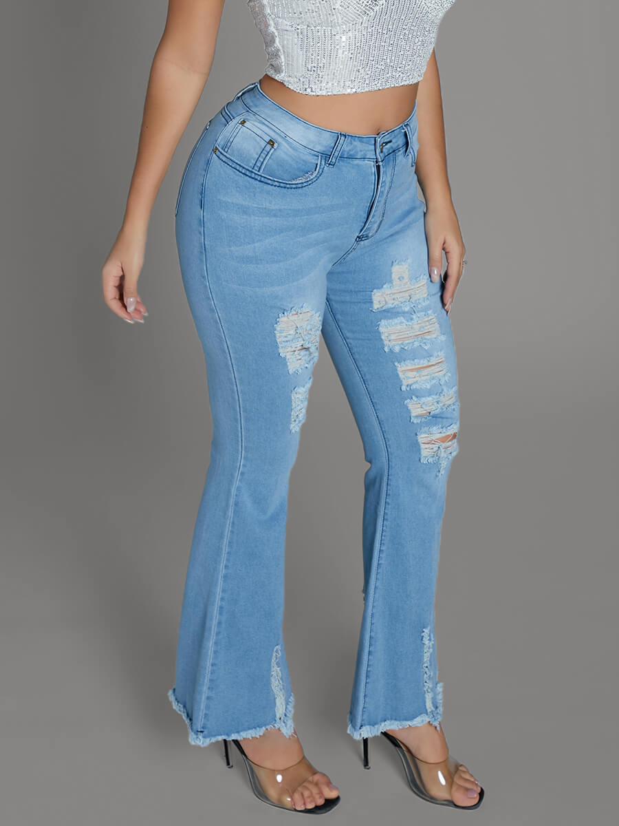 Lovely Stylish Hollow-out Blue Jeans