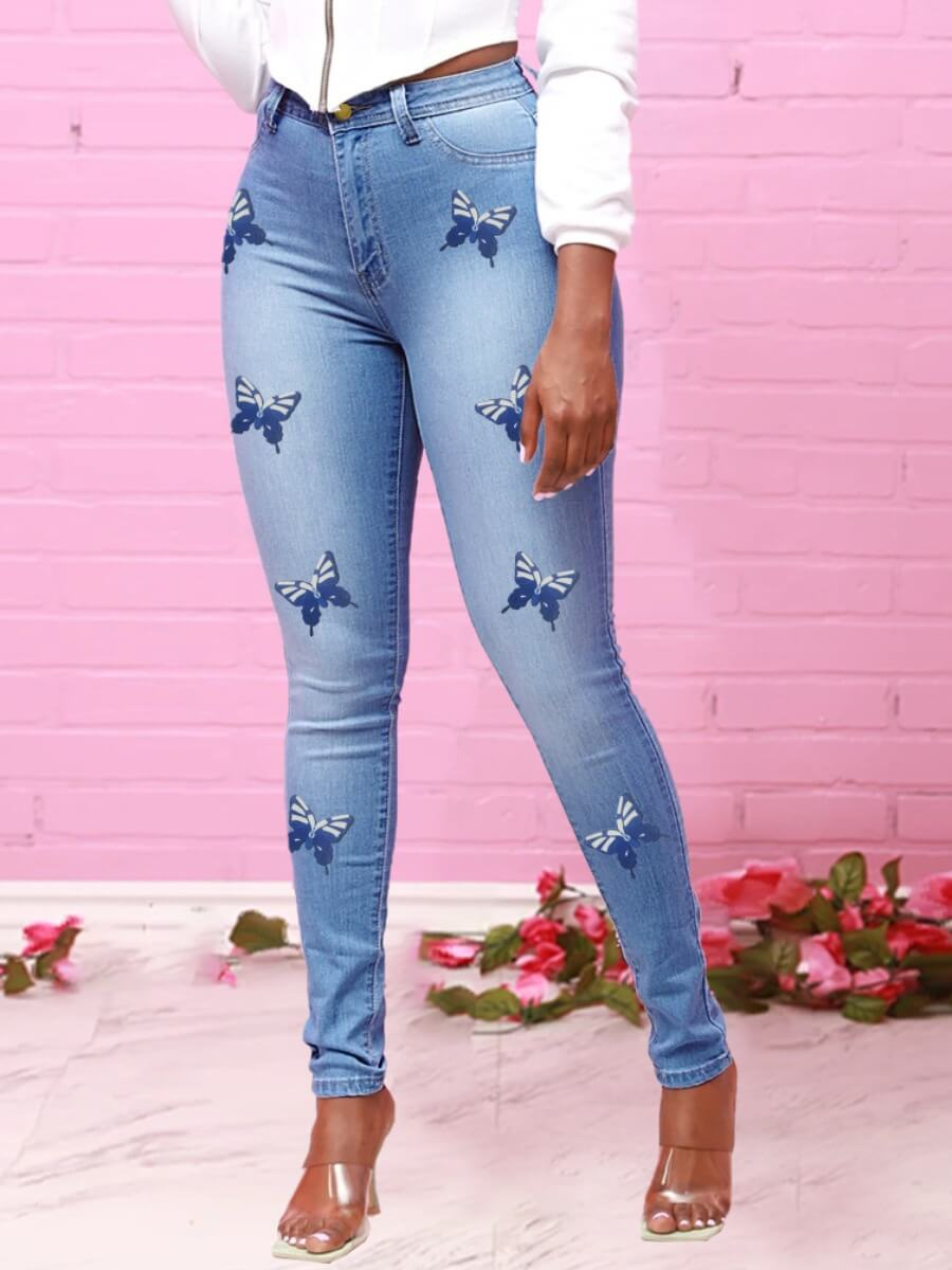 Lovely Trendy High-waisted Butterfly Print Blue Je