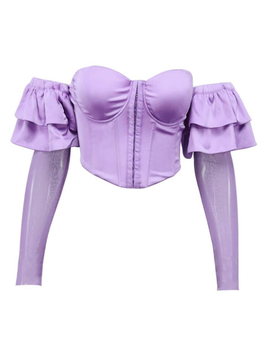 Lovely Sweet Bateau Neck Ruffle Design Purple Blou