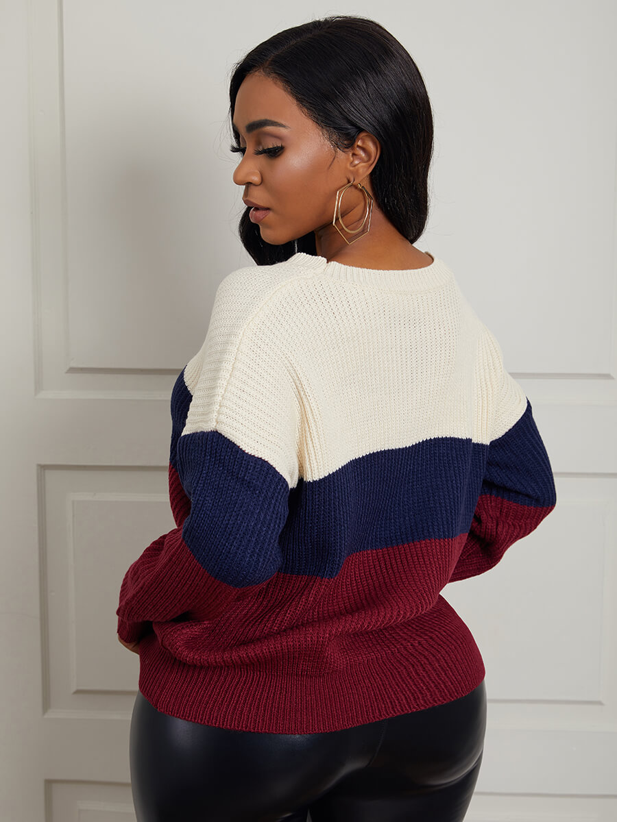 Lovely Chic Striped Patchwork Wine Red Sweater