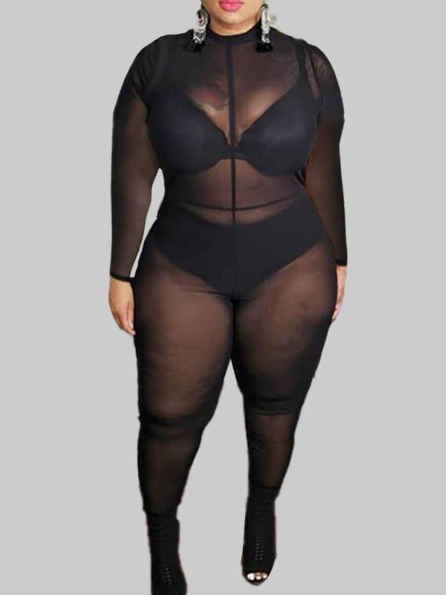 lovelywholesale / LW Lovely Sexy See-through Black Plus Size One-piece Jumpsuit