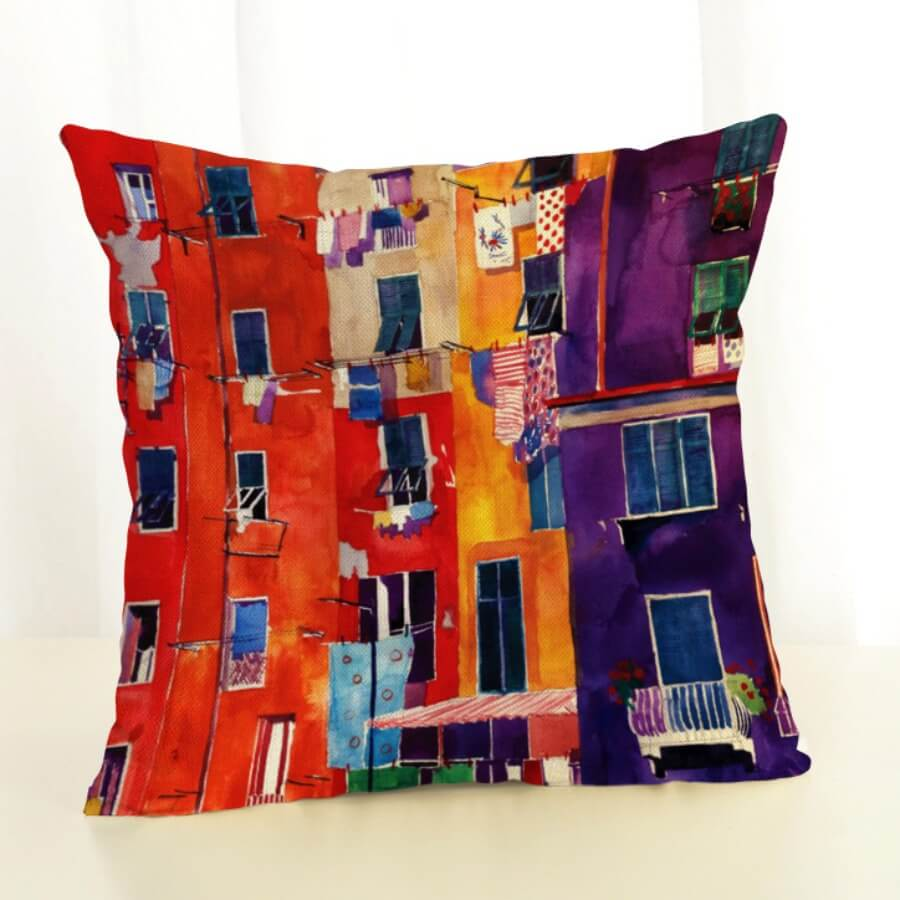Lovely Print Multicolor Decorative Pillow Case