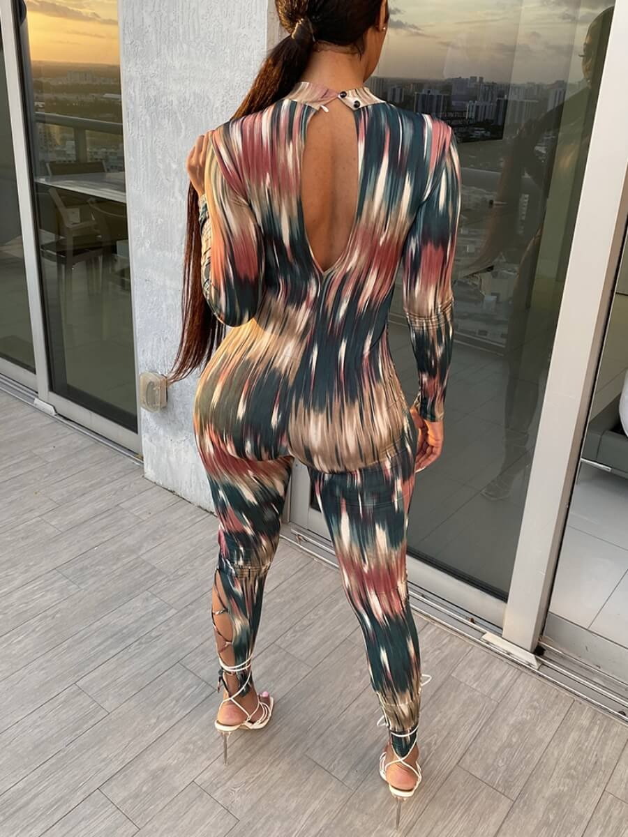 Lovely Street Print Patchwork Hollow-out Multicolo
