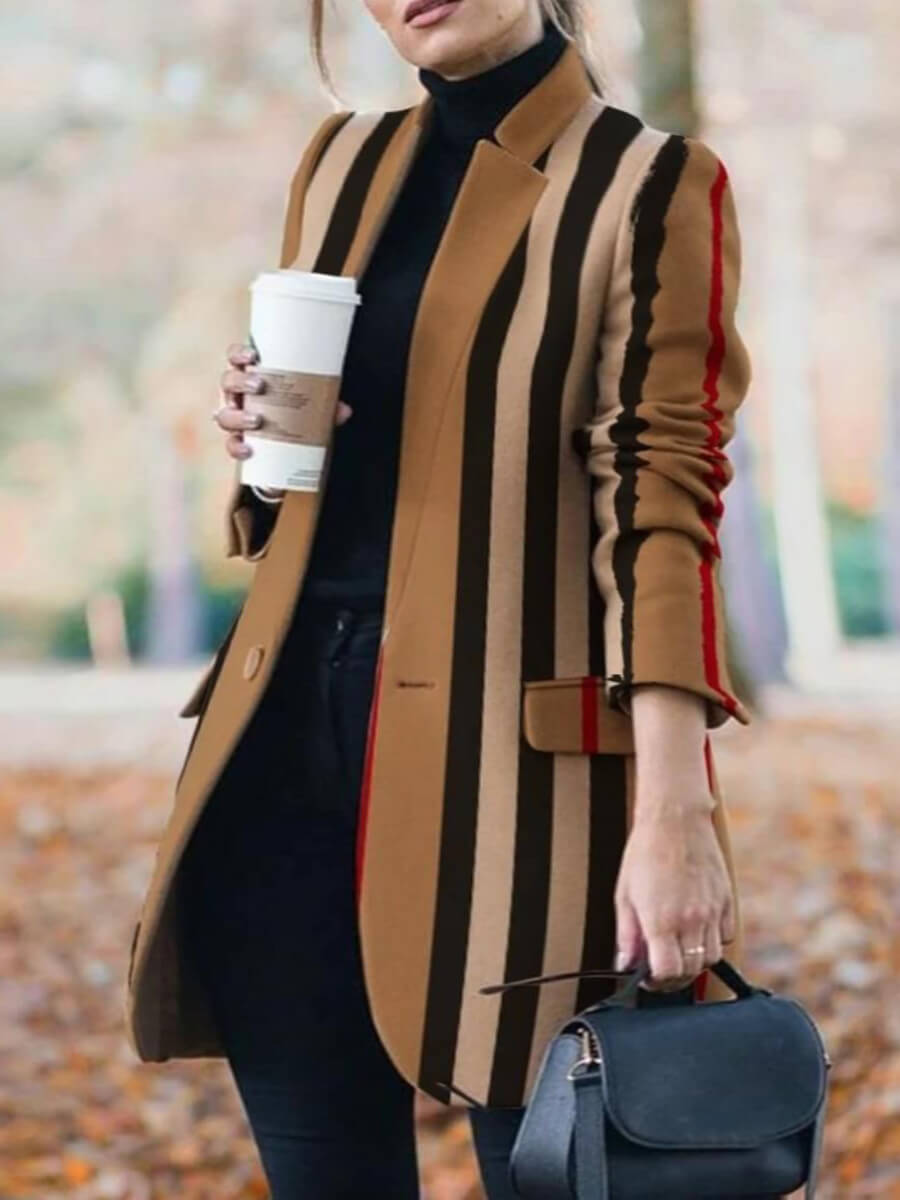 Lovely Formal Striped Patchwork Pocket Design Plus