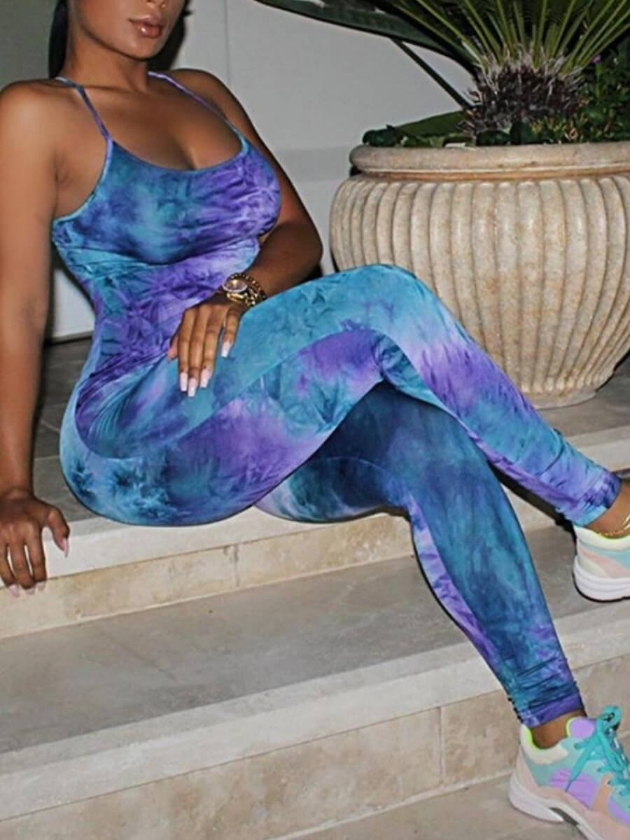 Lovely Casual Tie-dye Patchwork Blue One-piece Jum