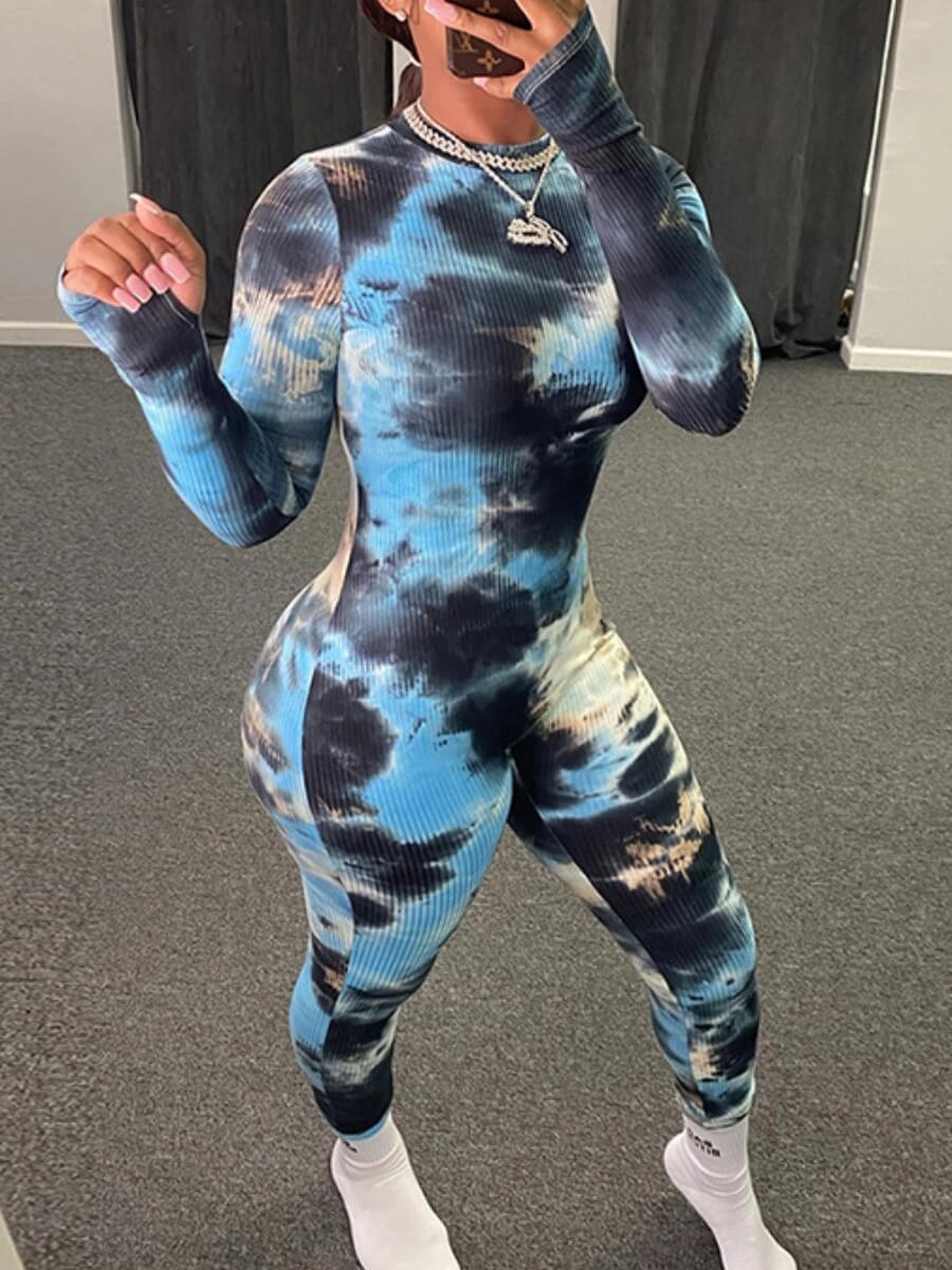 Lovely Casual Tie-dye Print Blue One-piece Jumpsui