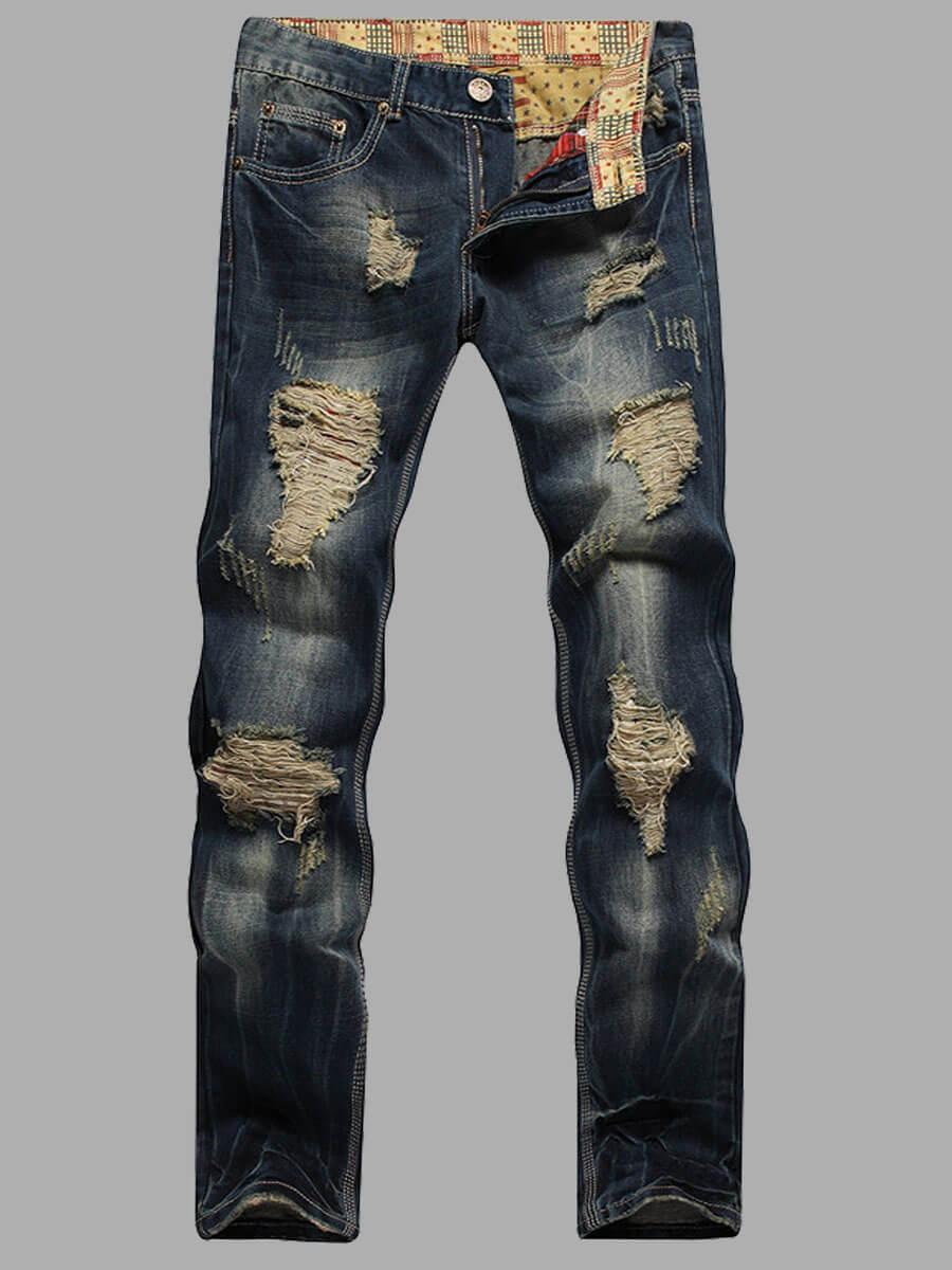 Lovely Casual Broken Holes Patchwork Blue Men Jeans