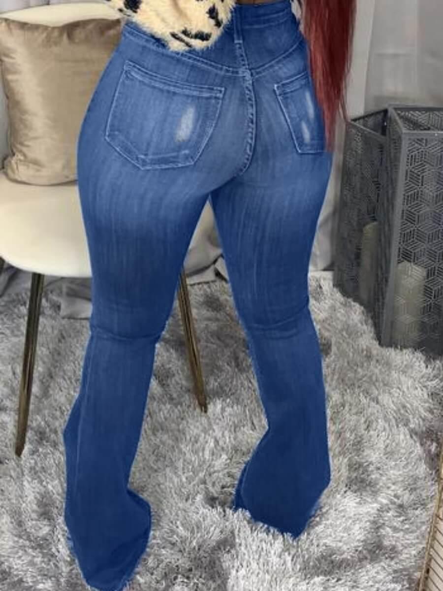 LW Street Broken Holes Flared Raw Edge Blue Jeans