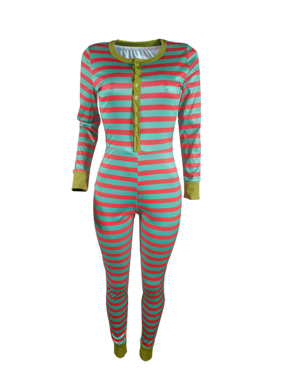 Lovely Casual Striped Christmas Day Print Green Pl