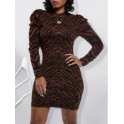 Lovely Trendy Striped Print Brown Mini Dress