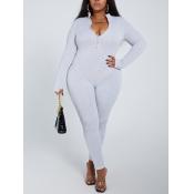Lovely Sportswear Zipper Design Skinny Light Grey