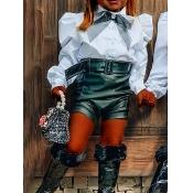 Lovely Stylish Shirt Collar Fold Design White Girl