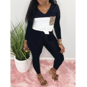Lovely Casual V Neck Patchwork Black Two Piece Pants Set