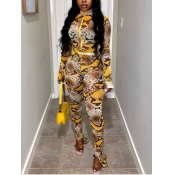 Lovely Street Snake Print Yellow One-piece Jumpsui