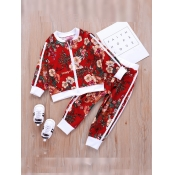 Lovely Trendy Plants Print Patchwork Red Girl Two-